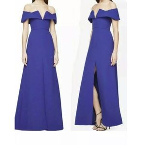 Bcbg Maxazria off shoulder blue gown dress size 0